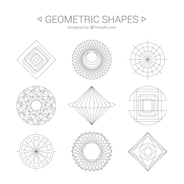 D Shape Line Drawings : Geometric shapes line art vector free download
