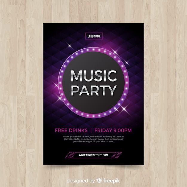 Geometric shapes music party poster Free Vector