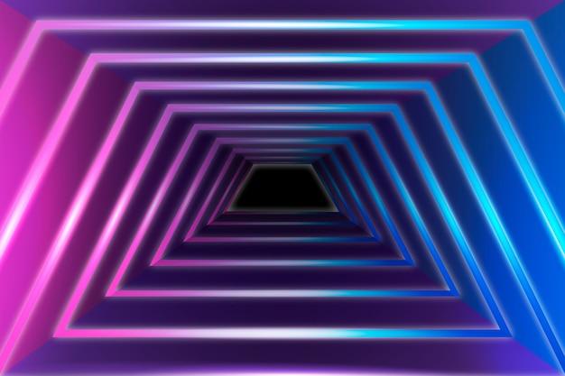 Геометрические фигуры неоновые огни фон Бесплатные векторы