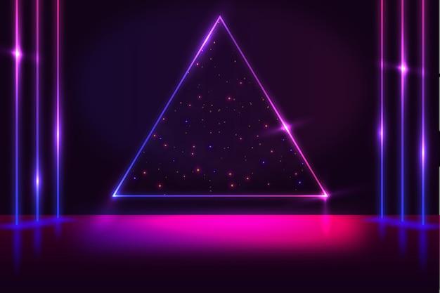 幾何学的図形のネオンの背景 Premiumベクター