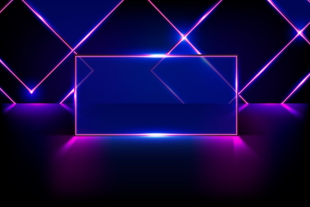 Geometric shapes neon lights background Free Vector
