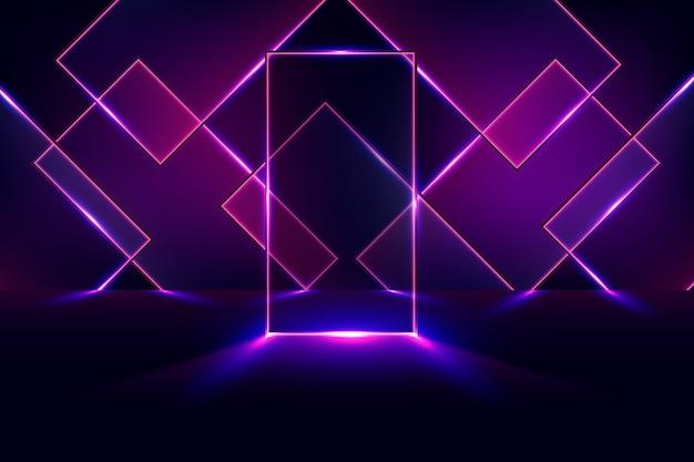 Geometric shapes neon lights wallpaper Free Vector