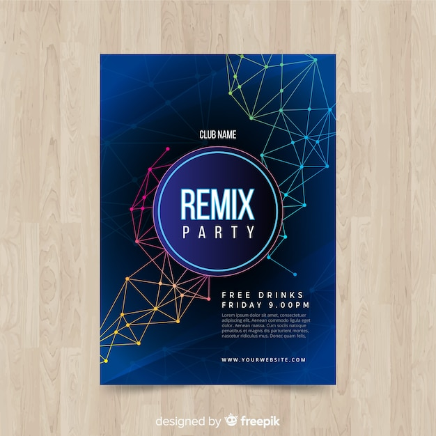 Geometric shapes night party poster Free Vector