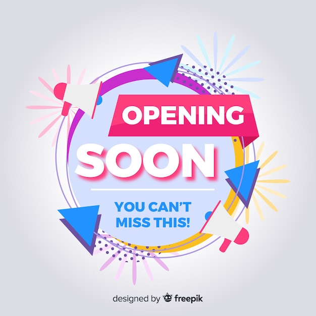 Geometric shapes opening soon background Free Vector