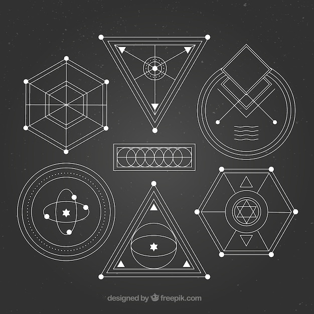 Geometric shapes ornaments pack Free Vector