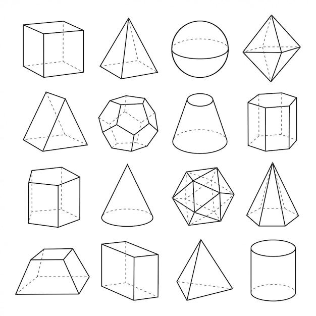 Geometric shapes outline set Premium Vector