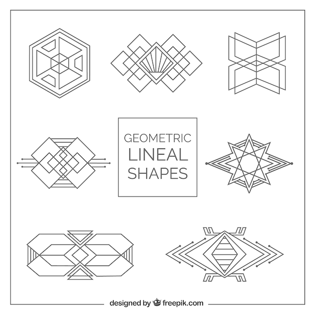 Geometric shapes pack in art déco style Vector | Premium Download