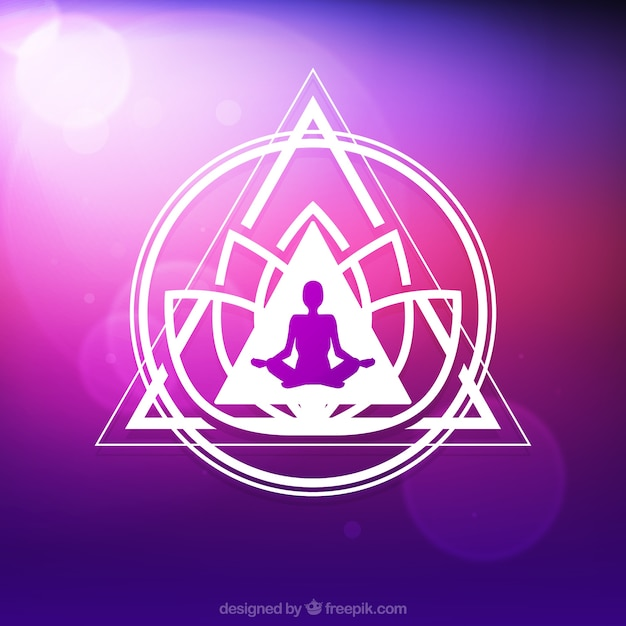 Geometric shapes purple yoga background