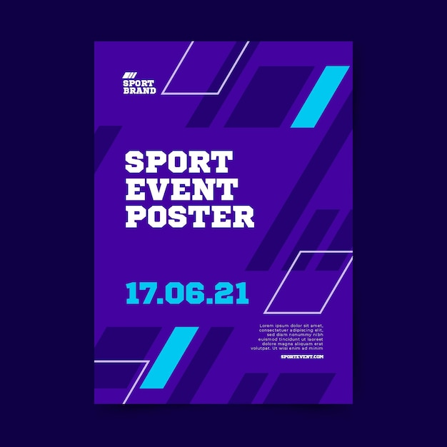 Geometric shapes sport event poster template Free Vector