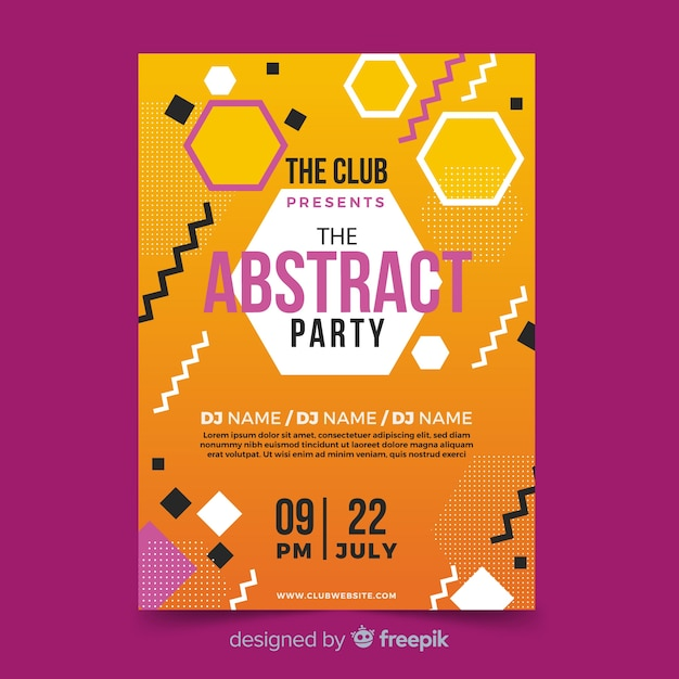 Geometric shapes summer festival poster Free Vector