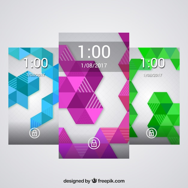Geometric shapes wallpapers pack of colors for mobile