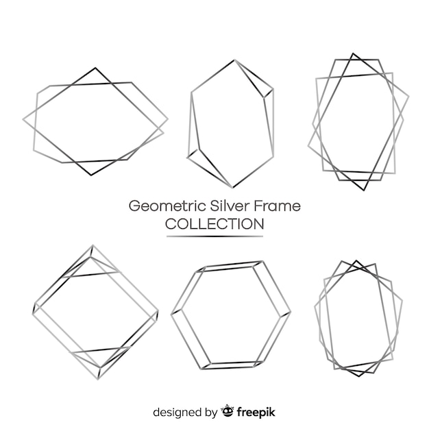 Geometric silver frame collection Free Vector