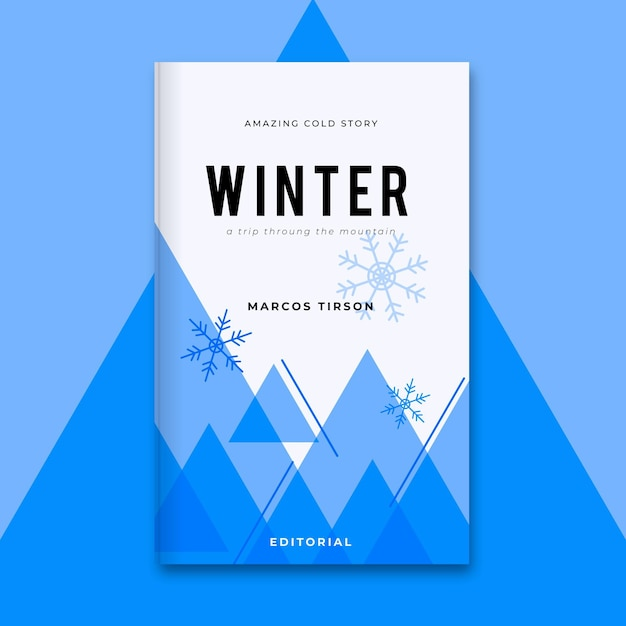 Modello di copertina del libro invernale monocromatico geometrico Vettore gratuito