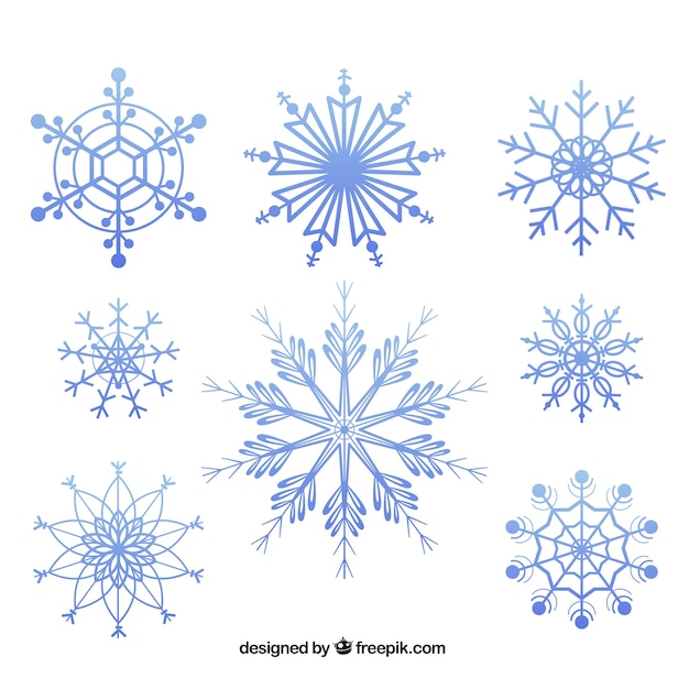 Geometric snowflakes pack Free Vector