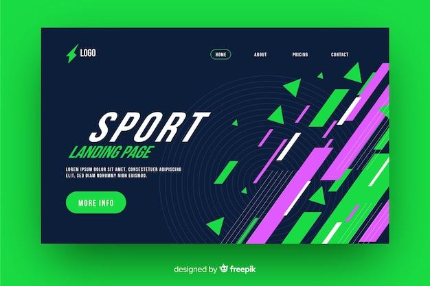 Geometric sport landing page Free Vector