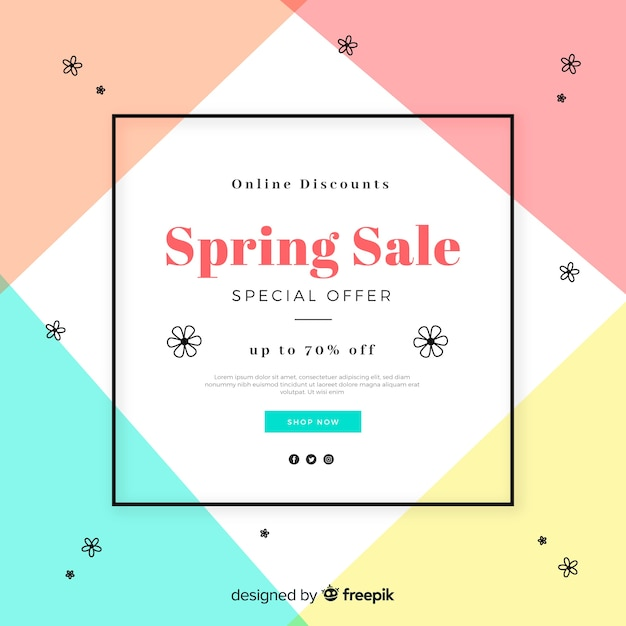 Geometric spring sale background Free Vector