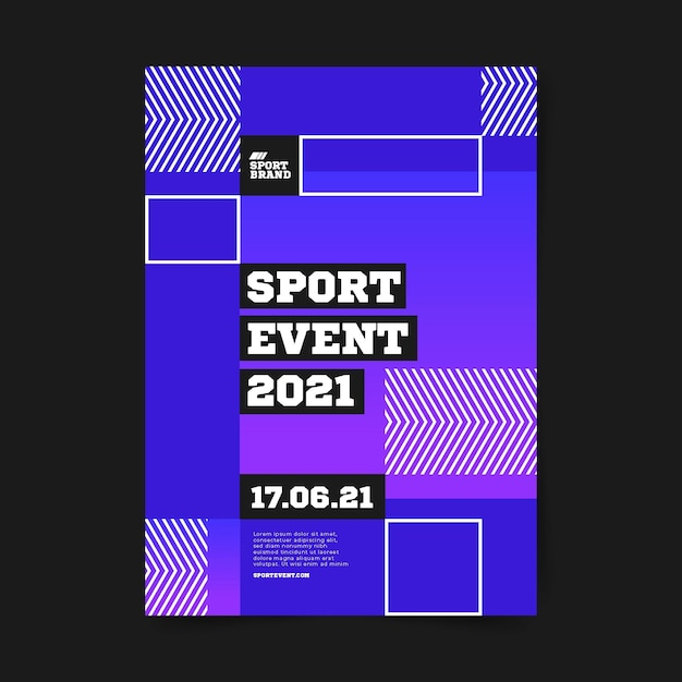 Geometric squares sport event poster template Free Vector