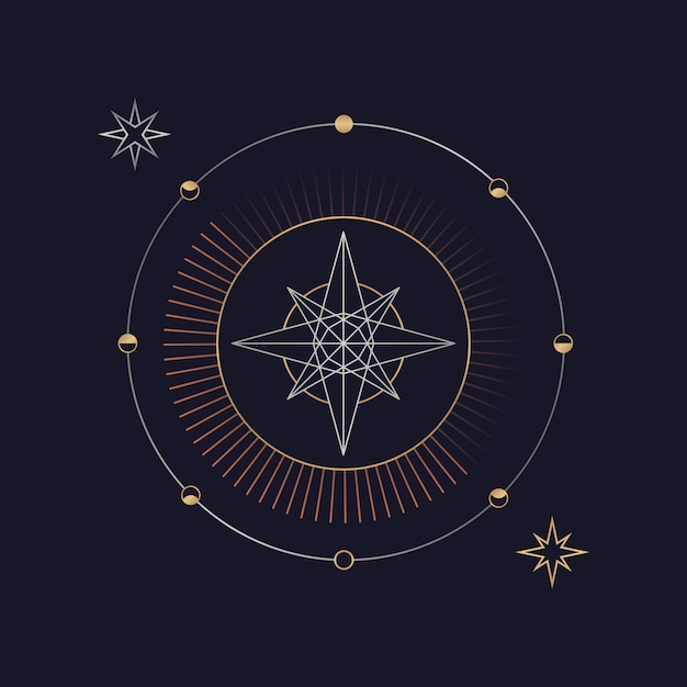 Geometric star astrological tarot card Free Vector