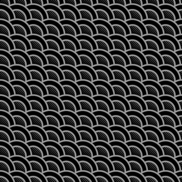 Geometric striped black seamless pattern with stylized waves Premium Vector