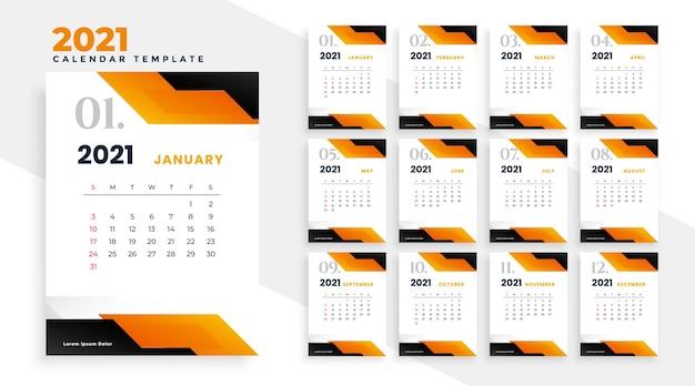 Calendario 2021 Arancione Design del calendario 2021 in stile geometrico in tema arancione