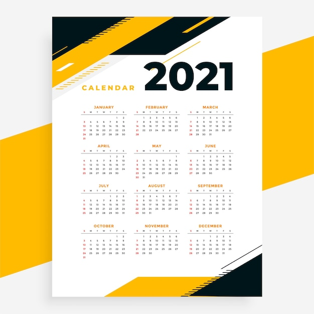 Geometric style professional 2021 calendar yellow design template Free Vector