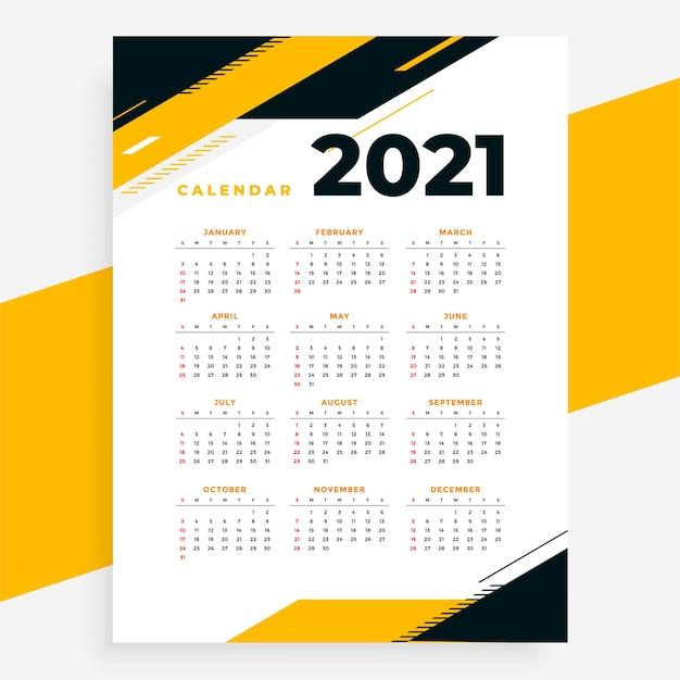 기하학적 스타일 전문 2021 달력 노란색 디자인 서식 파일 무료 벡터