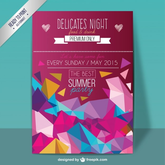 Geometric summer party poster Free Vector