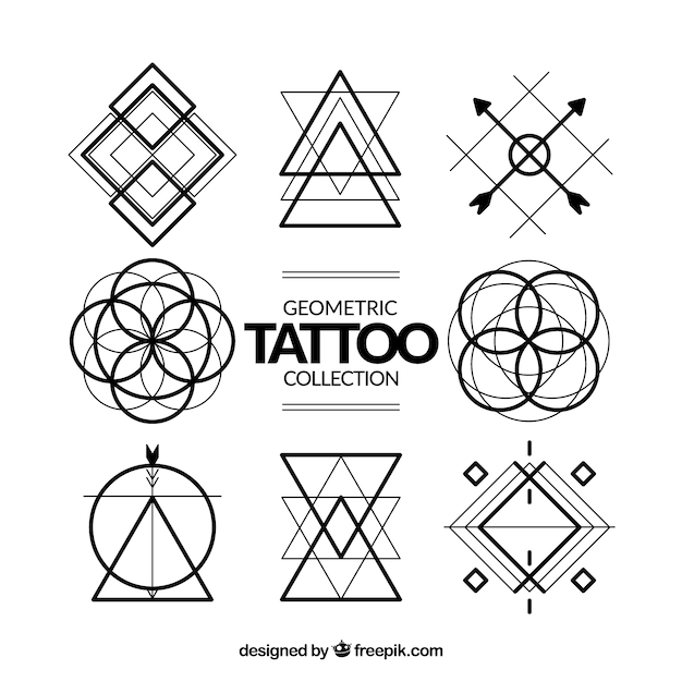 geometric symbols tattoo collection vector free download