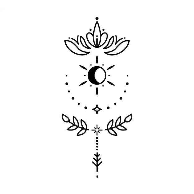 Geometric tattoo Premium Vector