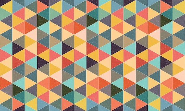 Geometric textured triangles background with colourful retro style Premium Vector