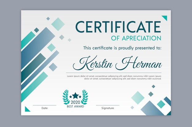 Geometric theme for certificate template Free Vector