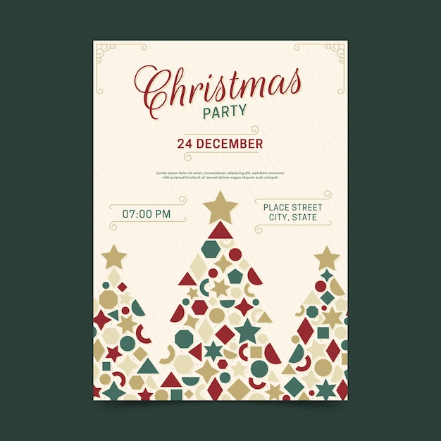 Geometric tree shapes christmas party poster Free Vector