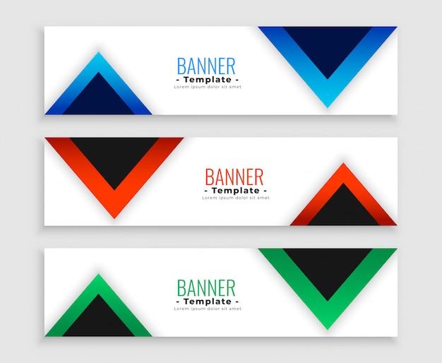 Le bandiere moderne del triangolo geometrico hanno messo di tre Vettore gratuito
