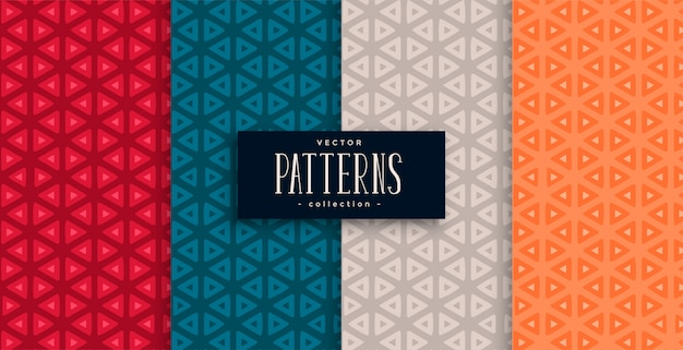 Geometric triangle patterns set and four colors Free Vector