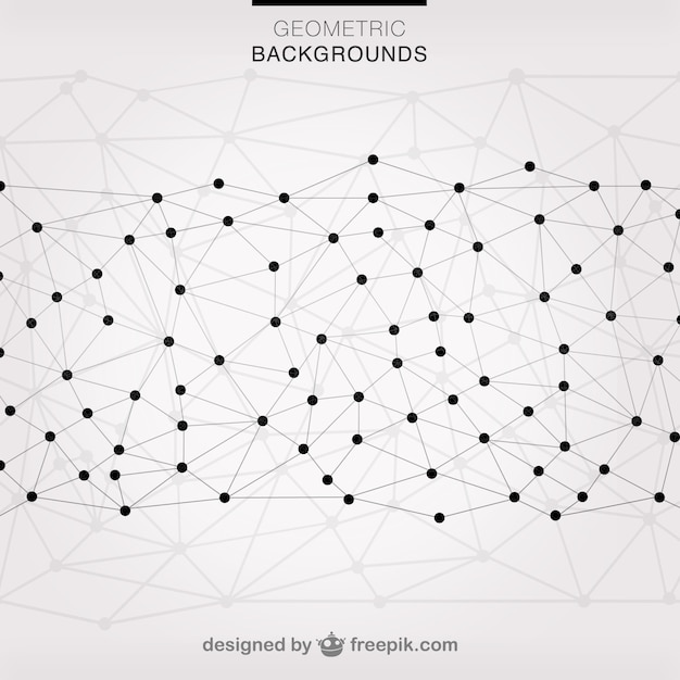 Geometric triangles connected with dots Free Vector