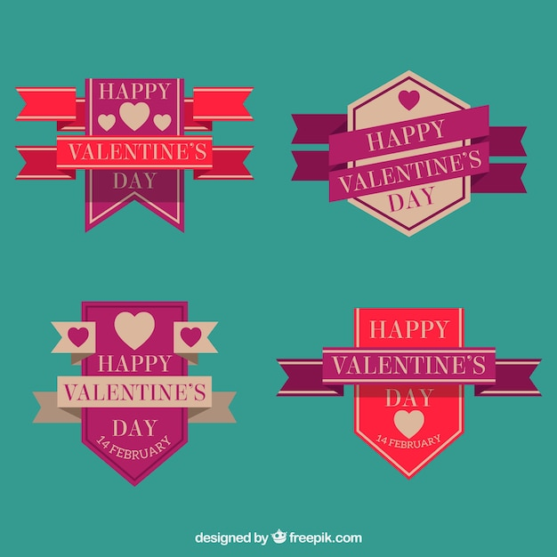Geometric valentine's badges in flat design Free Vector