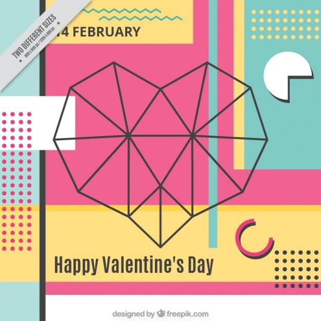 기하학적 발렌타인 배경 무료 벡터