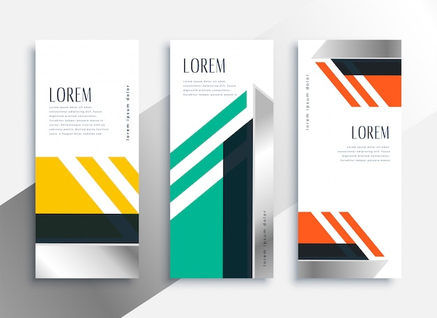 Geometric vertical banners in modern business style Free Vector
