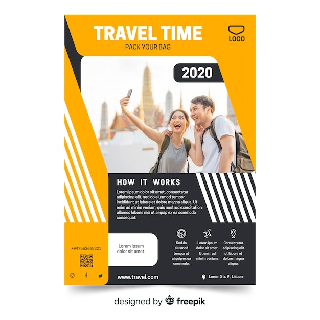Geometric vivid travel flyer template with photo Free Vector