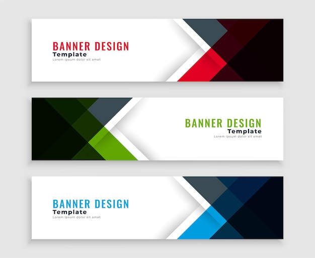Geometric web business banners template design Free Vector