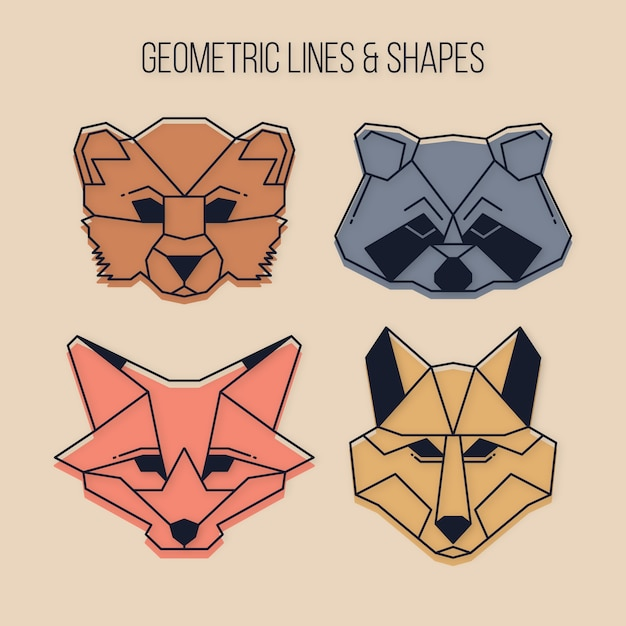 Geometric wild animals with lines