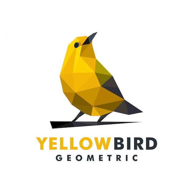 Geometric yellow bird logo Premium Vector
