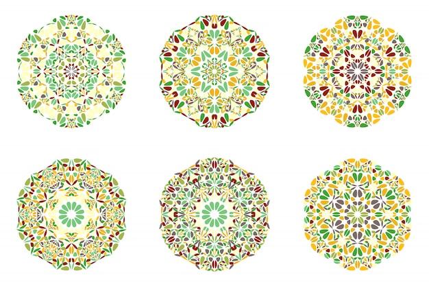 Geometrical abstract ornate round floral mandala logo set Premium Vector
