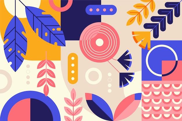 カラフルな葉と幾何学的な背景 無料ベクター