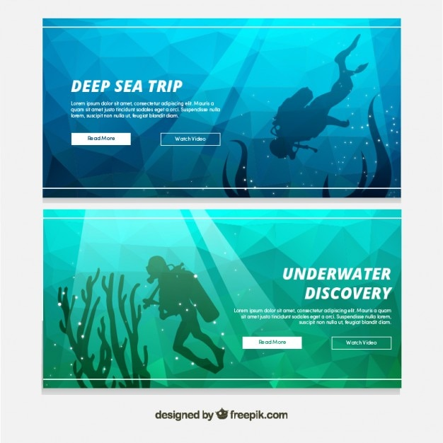 Geometrical banners with a scuba diver Free Vector