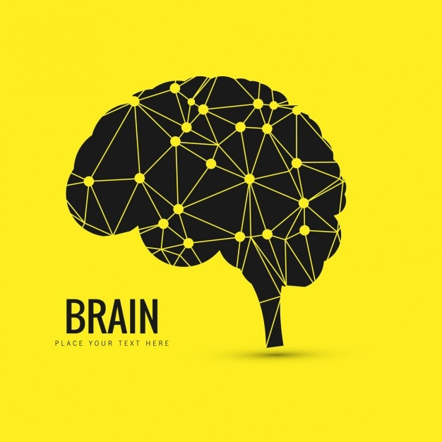 Geometrical brain background in yellow color Free Vector