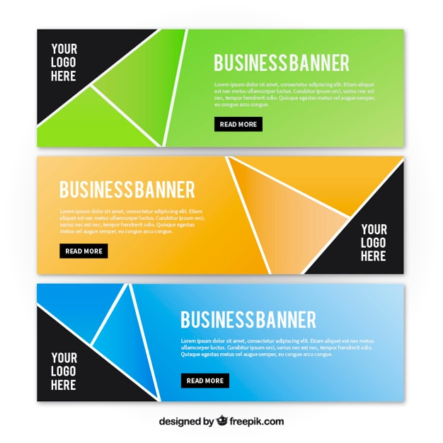 Geometrical business banners in modern style