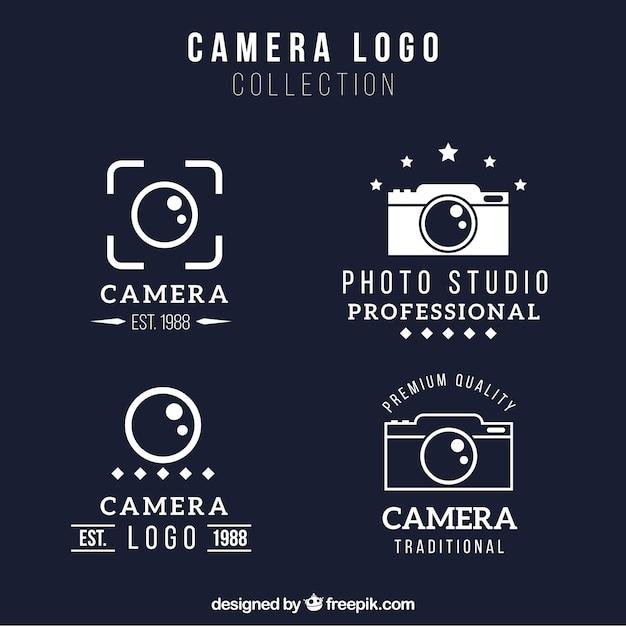 Geometrical camera logo collection Premium Vector