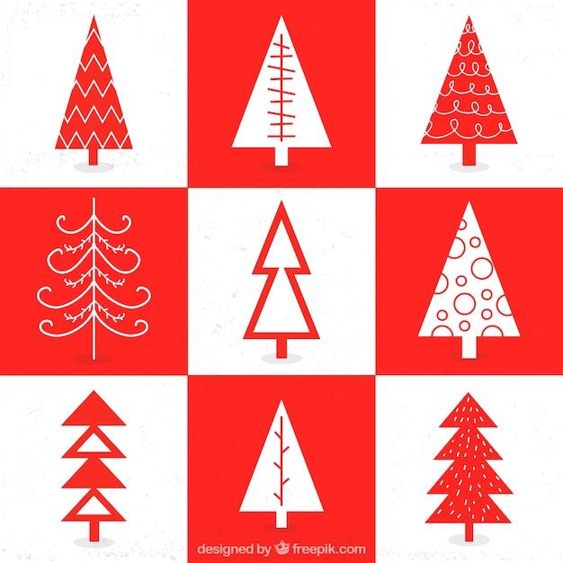 Christmas Tree Collection Leichhardt : Geometrical christmas tree collection vector premium