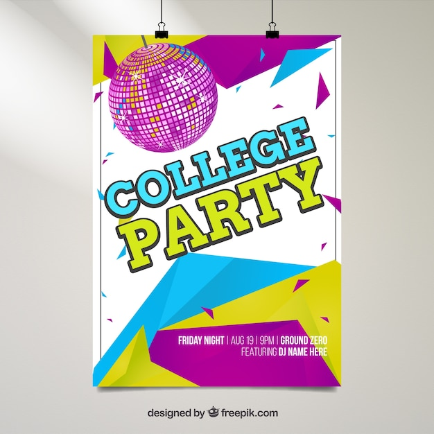 geometrical college party poster vector free download